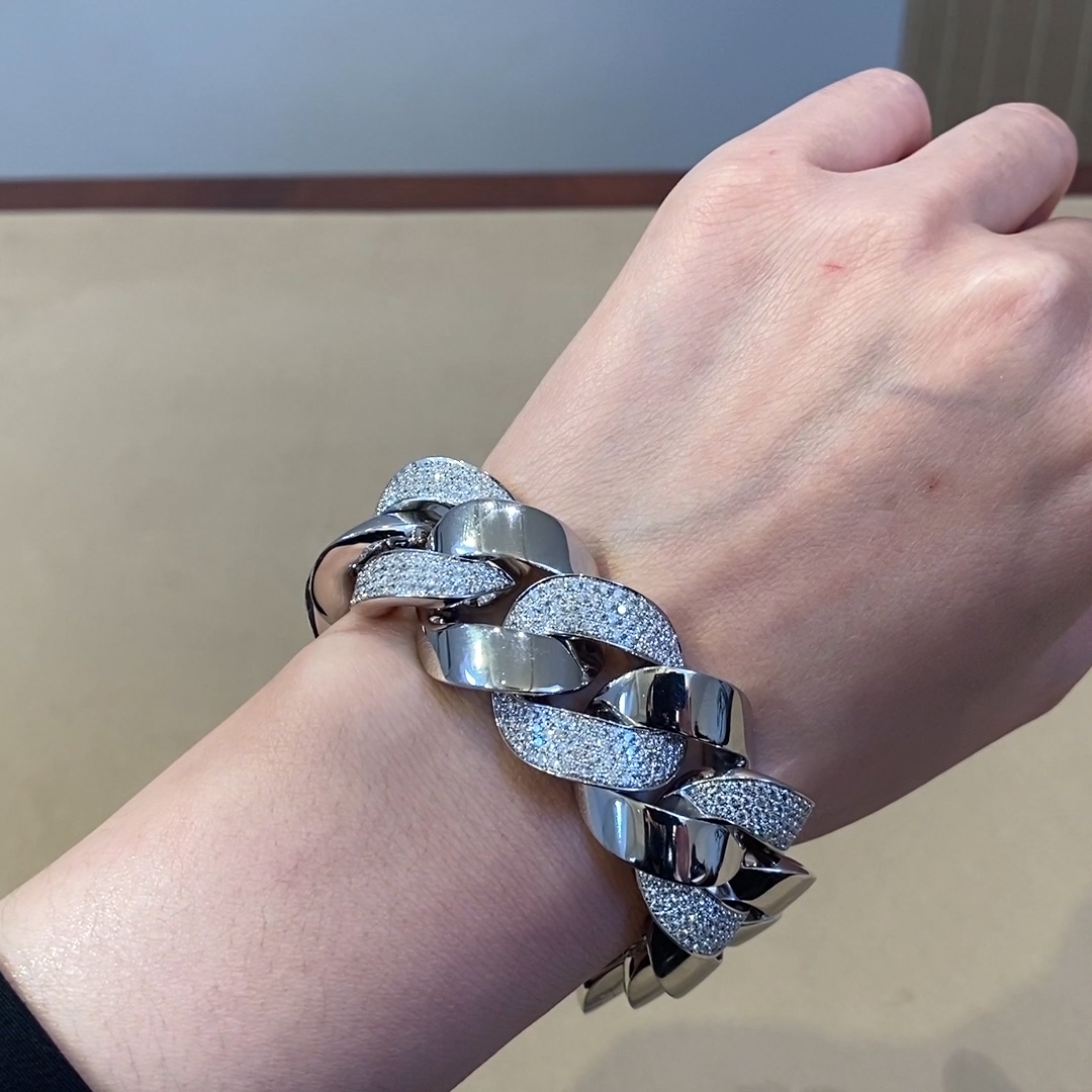 Cuba Large Chain Diamond Bracelet<br /> 6.403ct in White Gold