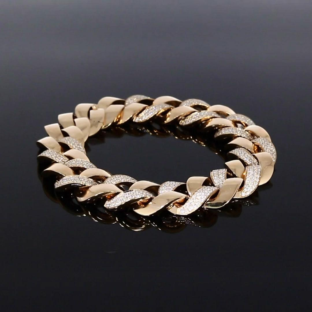 Cuba Small Chain Diamond Bracelet<br /> 4.28ct in Rose Gold.