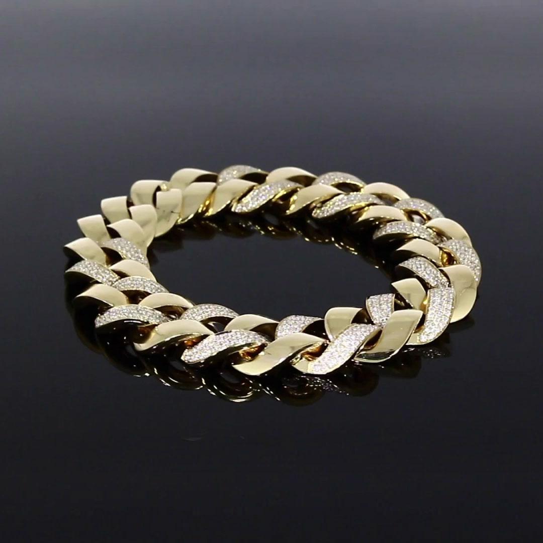 Cuba Small Chain Diamond Bracelet<br /> 4.28ct in Yellow Gold.
