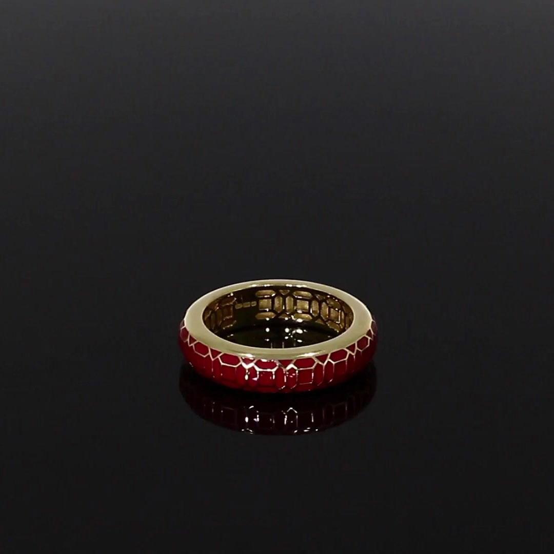 Revival Regency Red Enamel Ring <br /> in Yellow Gold