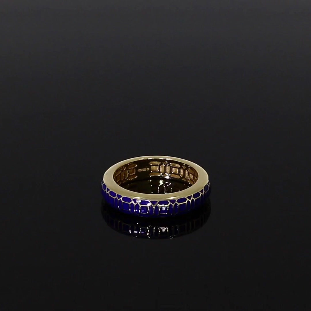 Revival Royal Blue Enamel Ring <br /> in Yellow Gold