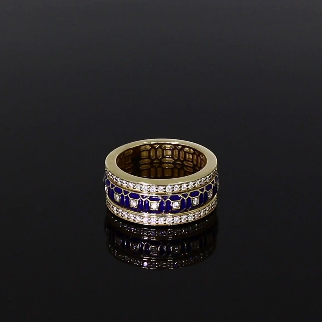Revival Black Enamel and Diamond Ring <br /> 0.94ct in Yellow Gold