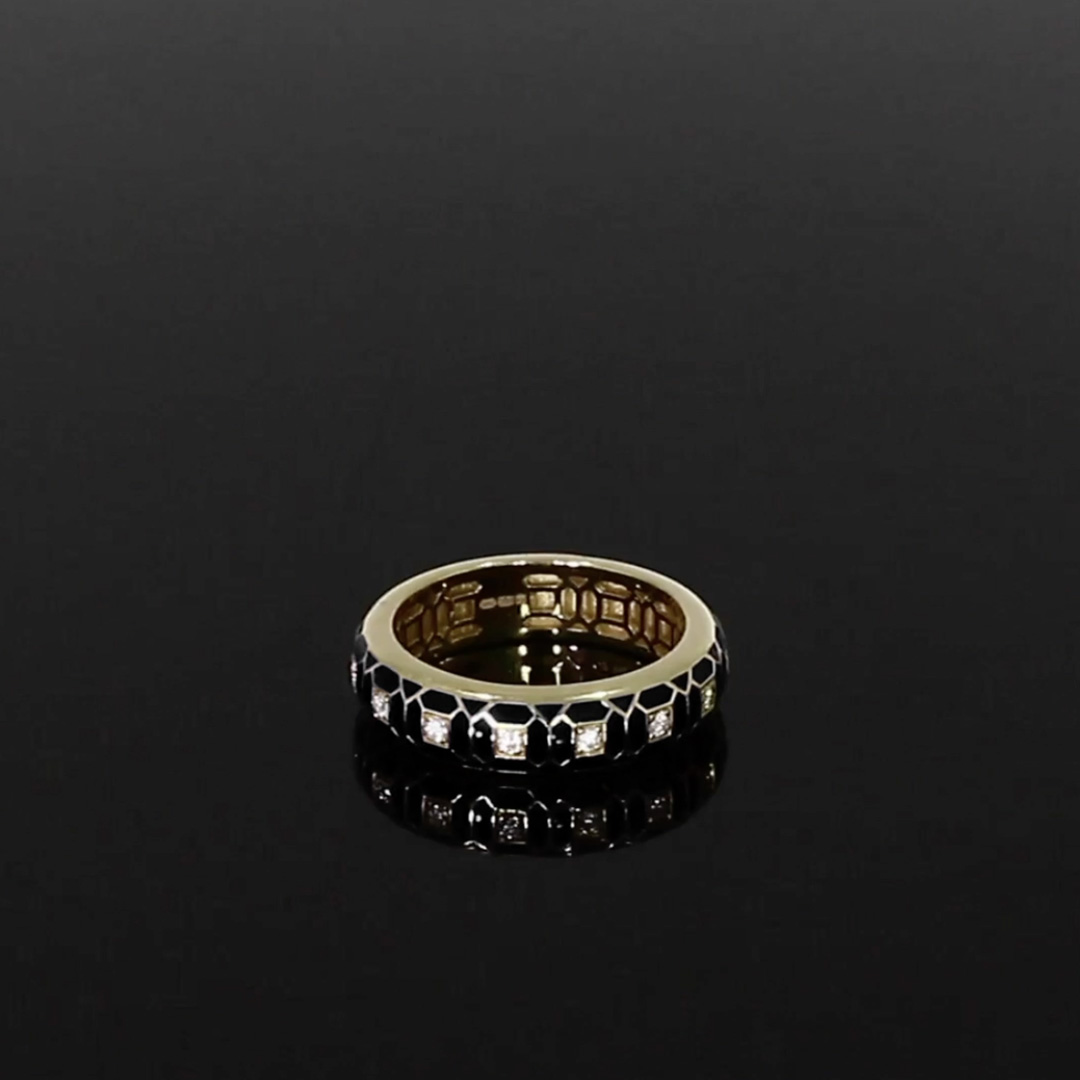Revival Black Enamel and Diamond Ring <br /> 0.17ct in Yellow Gold