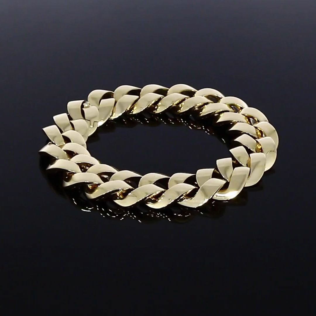 Cuba Small Chain Bracelet<br /> in Yellow Gold