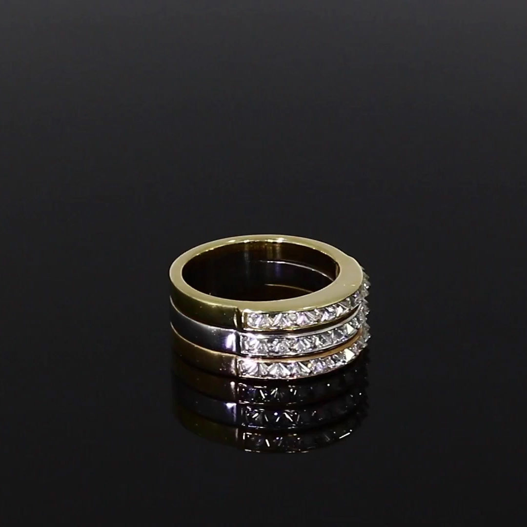 Three Row RockChic Ring<br /> 1.80CT in Rose, White and Yellow Gold