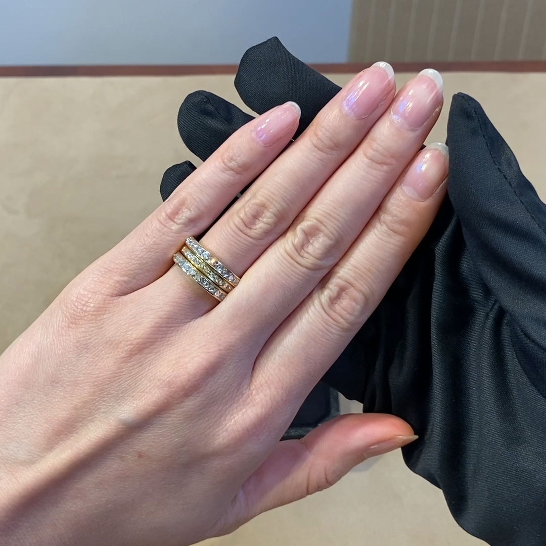 Three Row RockChic Ring<br /> 1.51CT in Yellow Gold