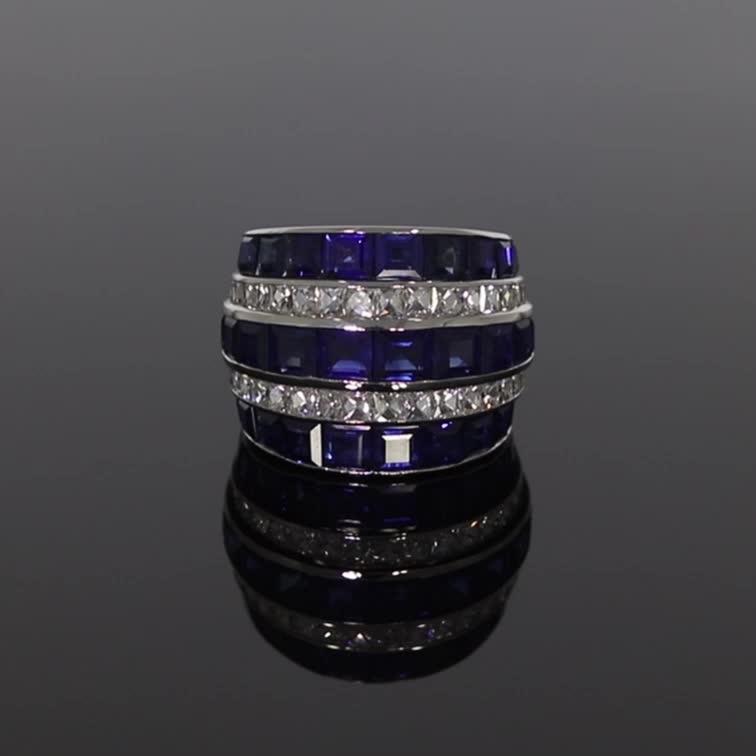 Manhattan Large Sapphire & Diamond Ring <br /> 15.28CT in Platinum