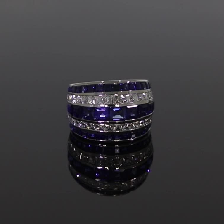 Manhattan Classic Sapphire & Diamond Ring <br /> 8.21CT in Platinum