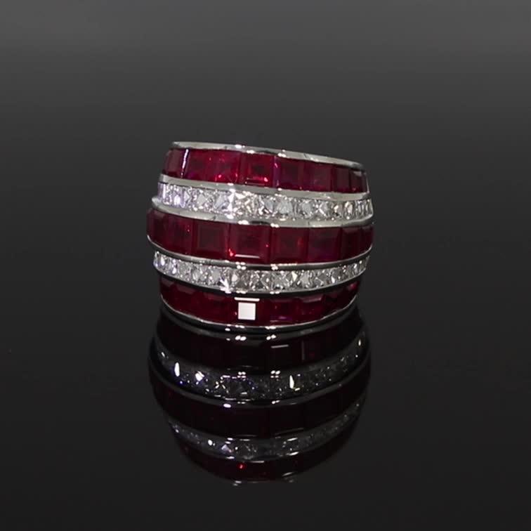 Manhattan Large Ruby & Diamond Ring <br /> 17.82CT in Platinum