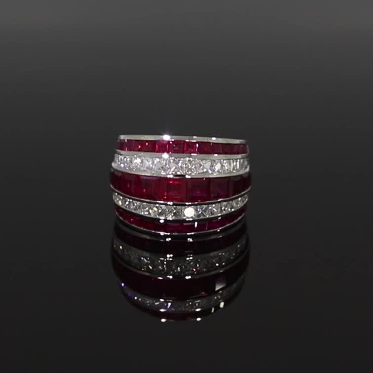 Manhattan Classic Ruby & Diamond Ring <br /> 8.60CT in Platinum