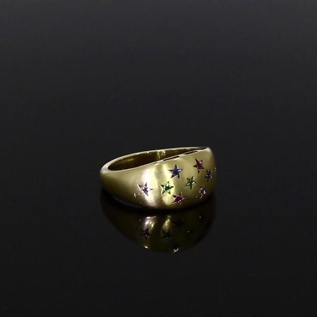 RockStar Multi Gemstone Bombe Ring<br /> 0.71CT in 18CT Yellow Gold