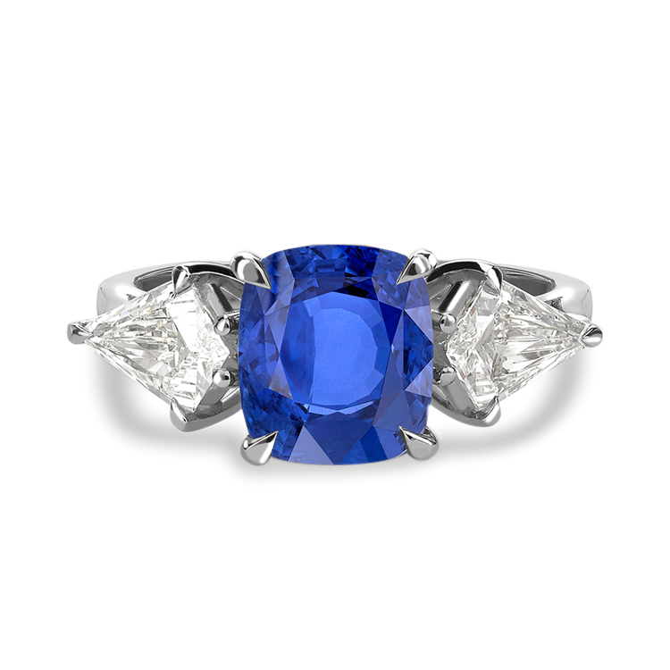 Cushion Cut Blue Sapphire Ring<br class='d-md-block d-none'/>2.92CT in Platinum