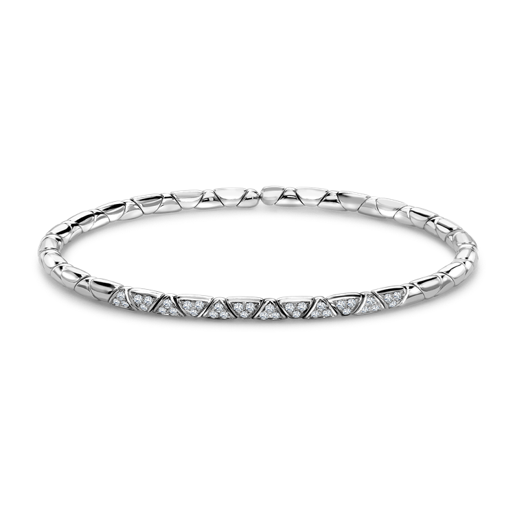 Groove Diamond Textured Bangle<br /> 0.36CT in White Gold