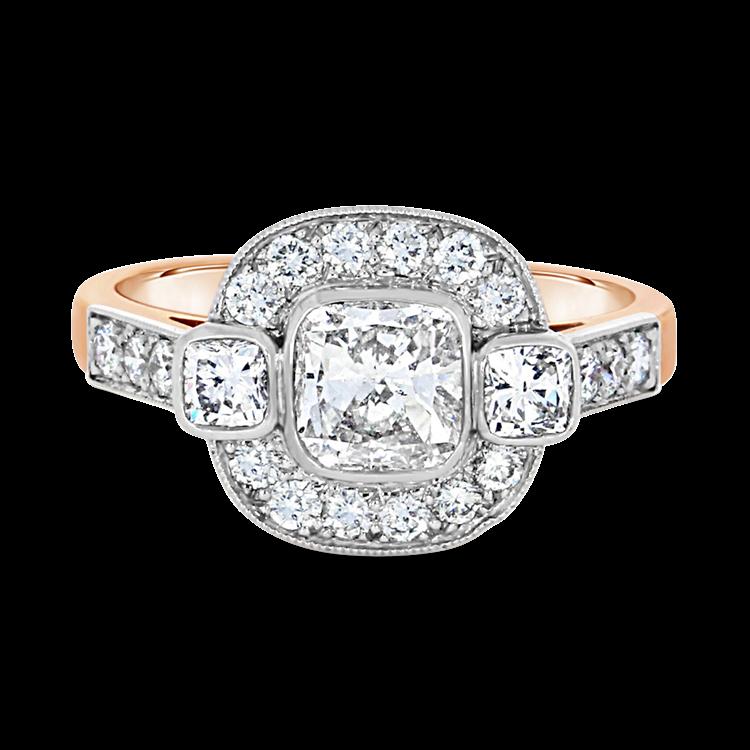 Cushion Cut Diamond Ring<br /> 0.90CT in Rose Gold & Platinum