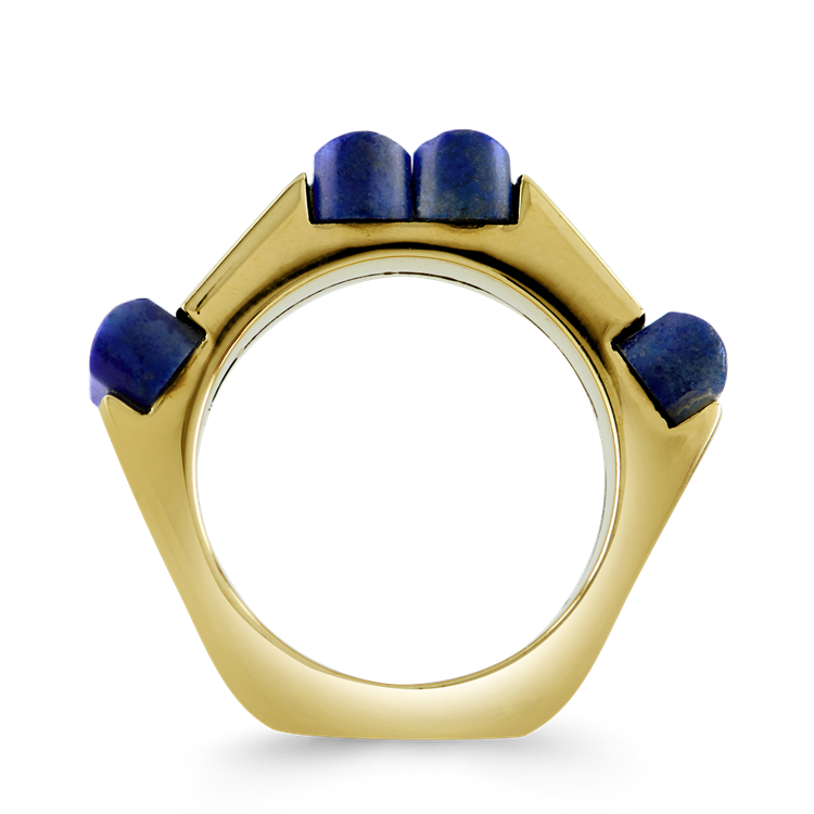 Retro French Blue Lapiz Ring<br class='d-md-block d-none'/>in Yellow Gold