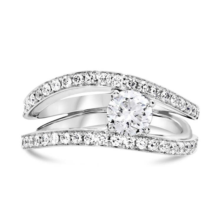 Brilliant Cut Diamond Ring with Two Rows Of Diamonds