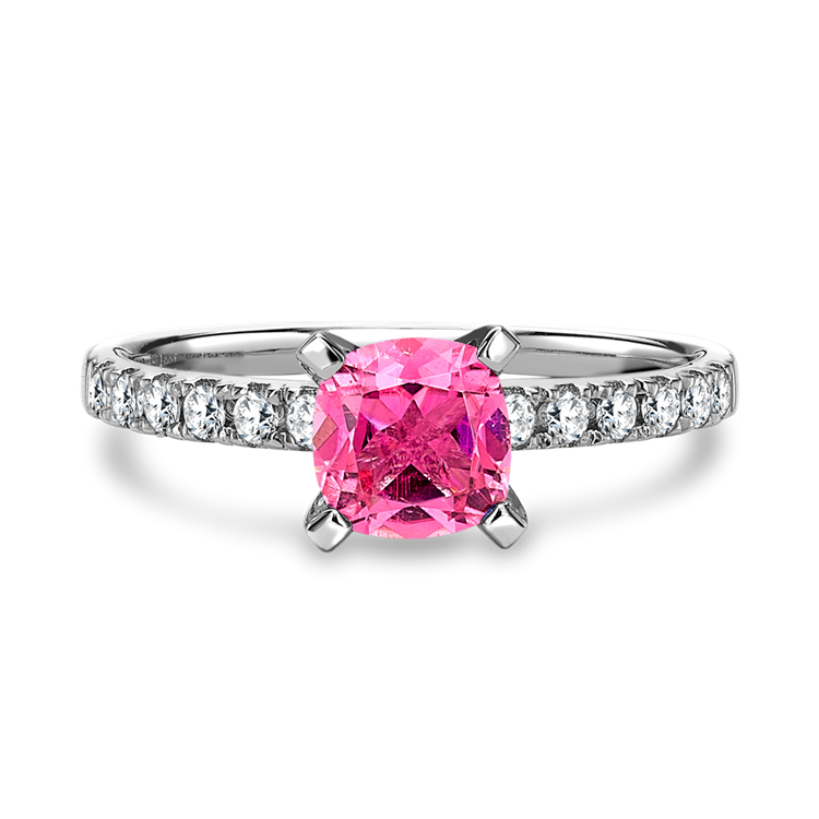 Pink Tourmaline Ring with Diamond Set Shoulders in White Gold