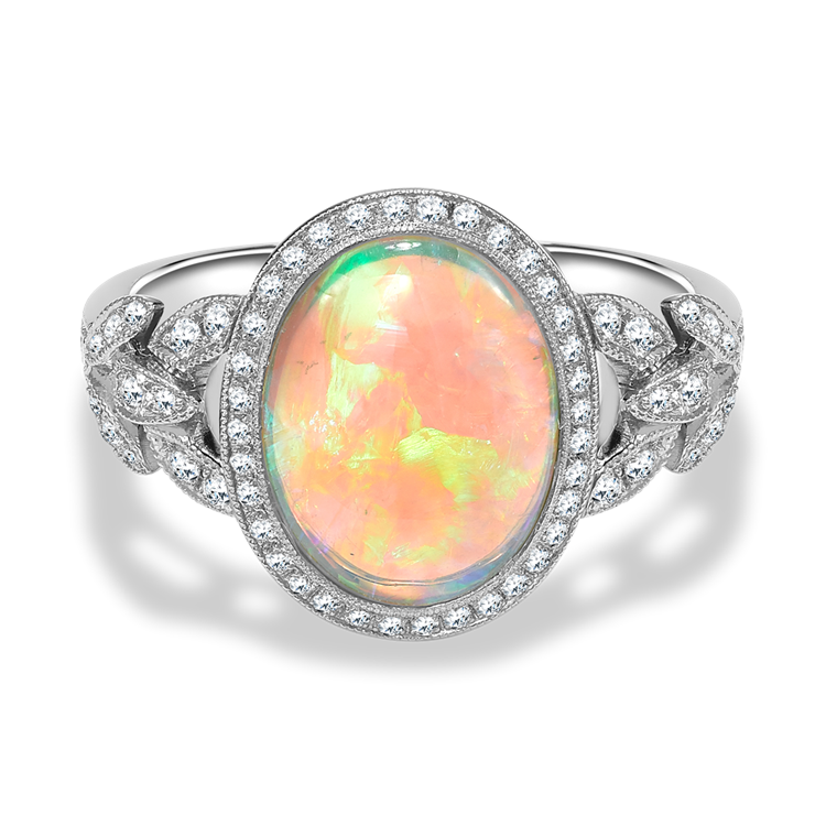 Oval Cut Opal Ring<br /> 2.74CT in Platinum