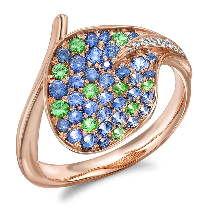 Wildflower Honeysuckle Blue Sapphire and Tsavorite Ring<br class='d-md-block d-none'/>1.10CT in Rose Gold