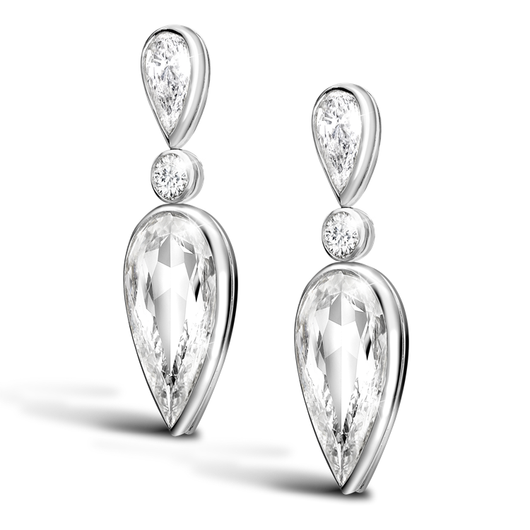 Masterpiece Pear Cut Diamond Earrings<br /> 6.08CT in White Gold