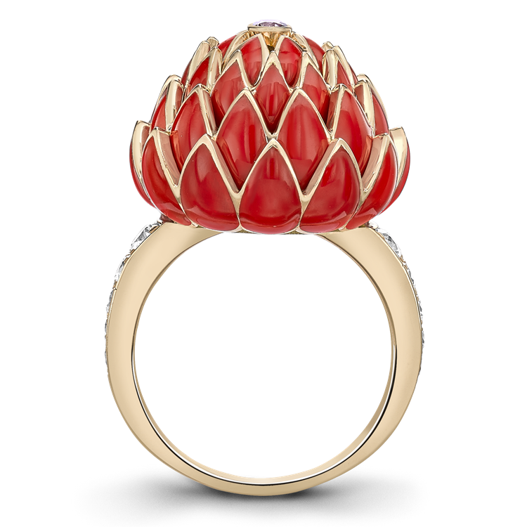 Wildflower Red Clover Pink Diamond Ring<br /> 0.05CT in Yellow Gold