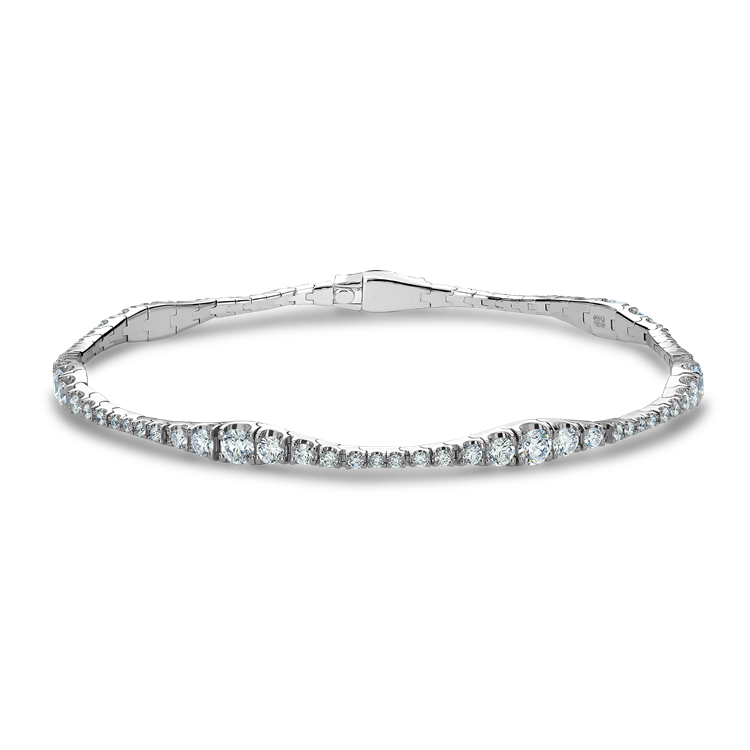 Diamond Graduated Line Bracelet<br /> 2.82CT in 18CT White Gold