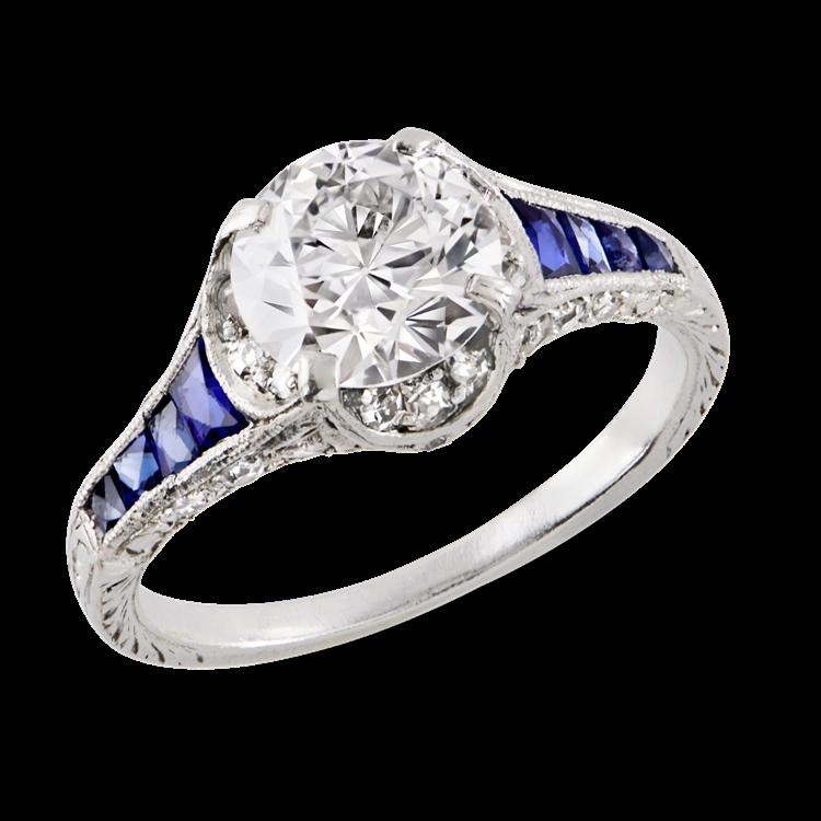 Art Deco Brilliant Cut Diamond Ring<br /> 1.25CT in Platinum