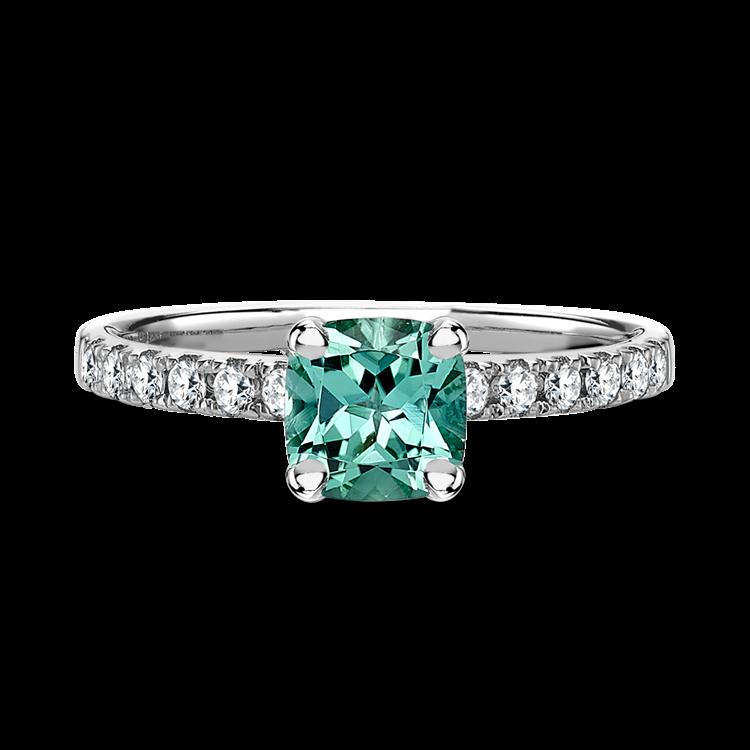 Mint Tourmaline Ring with Diamond Set Shoulders