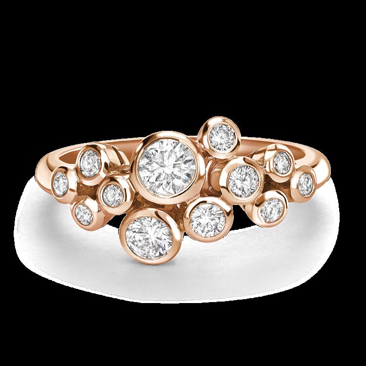 Twelve Stone Brilliant Cut Diamond Bubble Ring in Rose Gold