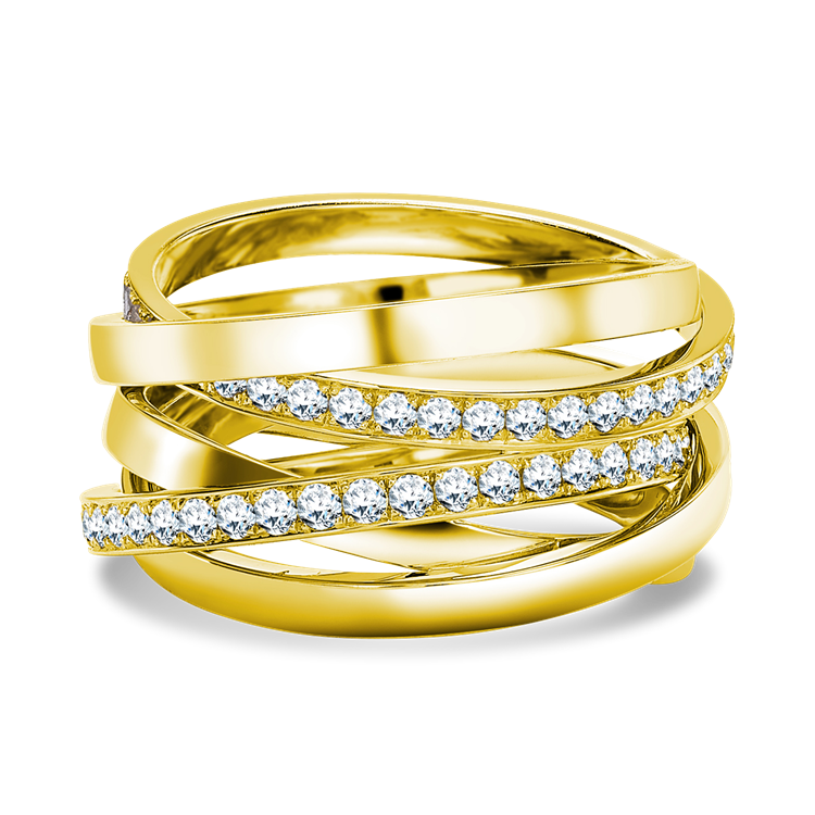 Trilogy Multi-Row Diamond Ring<br /> 1.22CT in 18CT Yellow Gold
