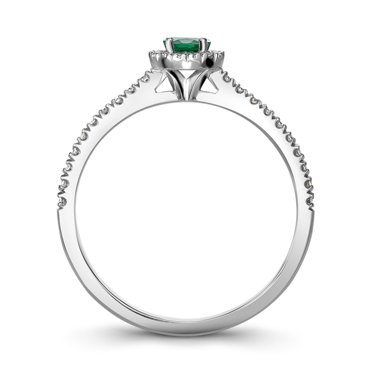 Round Brilliant Cut Emerald Ring<br /> 0.25CT in 18CT White Gold