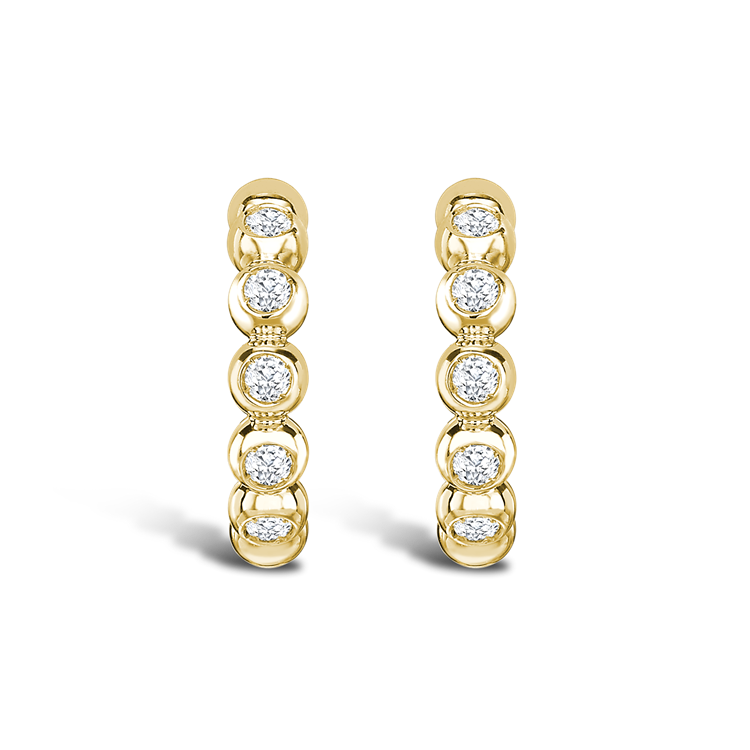 Bohemia Diamond Hoop Earrings<br class='d-md-block d-none'/> 0.27CT in 18CT Yellow Gold