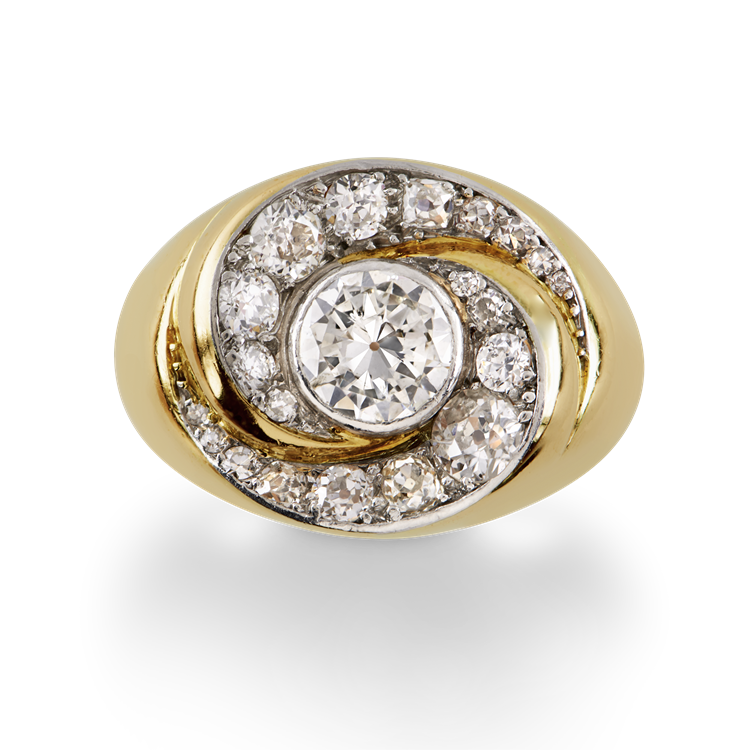 Retro Diamond Cocktail Ring<br /> in Yellow Gold