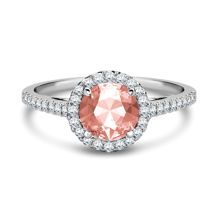 White Gold Morganite and Diamond Cluster Ring