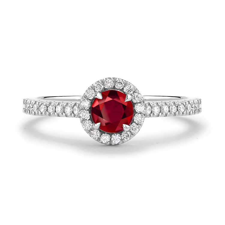 Round Brilliant Cut Ruby Ring 0.37CT in 18CT White Gold Cluster Ring with Diamond Shoulders_2
