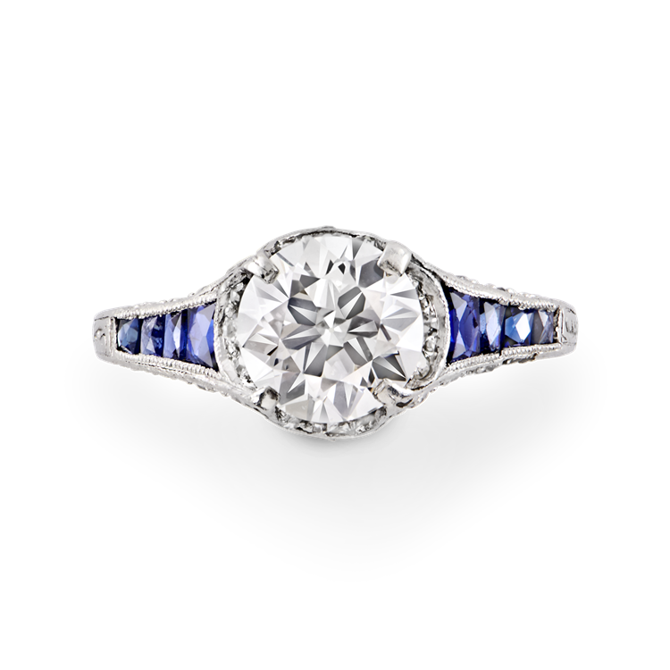 Art Deco Brilliant Cut Diamond and Sapphire Ring  1.25CT in Platinum Brilliant Cut Solitaire Ring, with Sapphire Shoulders_2