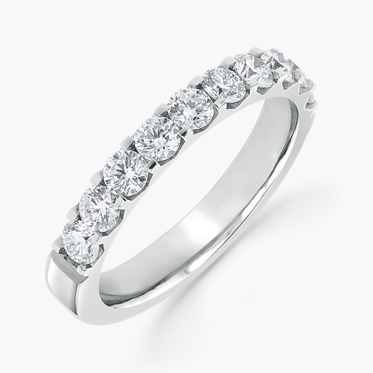 Brilliant Cut Diamond Half Eternity Ring 0.90CT in Platinum Brilliant Cut, Half Eternity, Claw Set_1