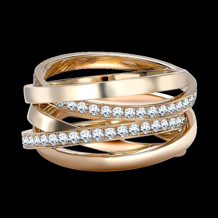 Trilogy Multi-Row Diamond Ring 1.17CT in 18CT Rose Gold Brilliant Cut, Multi-Row, Grain Set_1