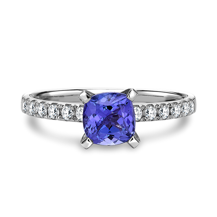 Tanzanite Ring with Diamond Set Shoulders in White Gold