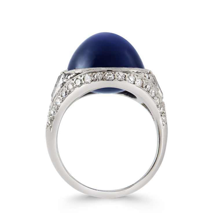 Art Deco Cabachon Sapphire Ring  15.19CT in Platinum Cabochon Cocktail Ring, with Diamond Surround_3