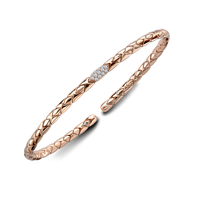 Groove Diamond Textured Bangle 0.10CT in Rose Gold Brilliant Cut, Pavé Set_2