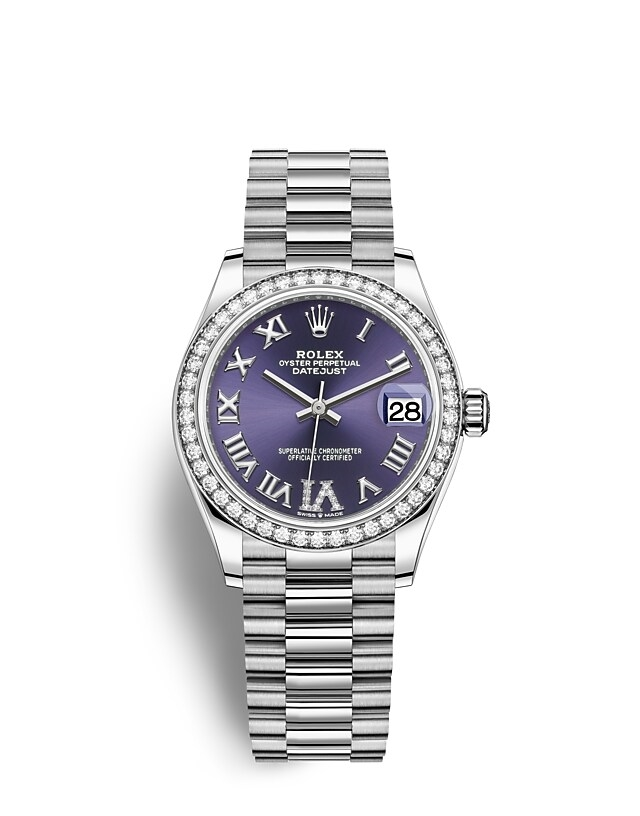 Datejust 31 Oyster, 31 mm, white gold and diamonds