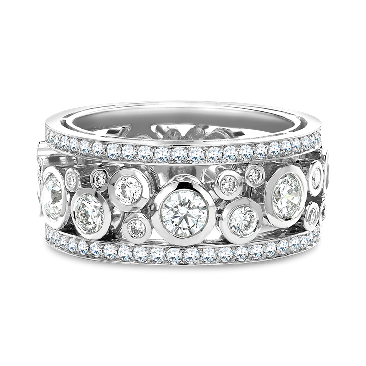 Bubbles Band Diamond Ring 1.52CT in White Gold