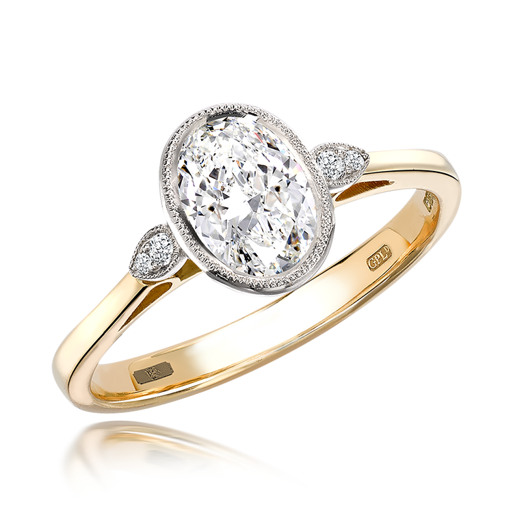 0.50CT Diamond Solitaire Ring Yellow Gold and Platinum Celia Setting Oval Cut, Solitaire, Brilliant Shoulders_1