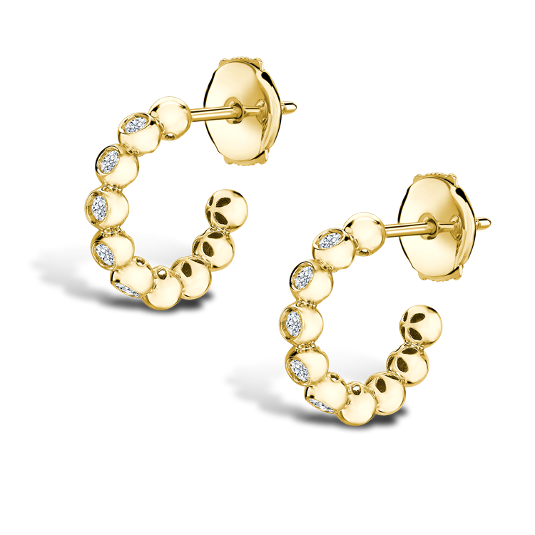 Bohemia Diamond Hoop Earrings 0.27CT in 18CT Yellow Gold Brilliant Cut, Rubover Set_2