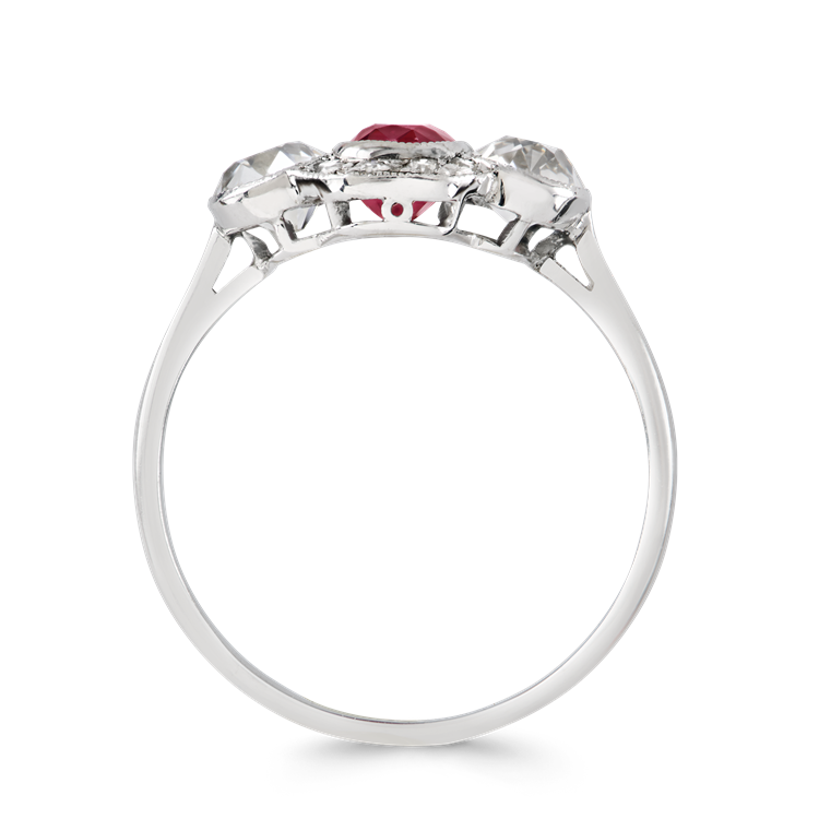 Edwardian Burmese Ruby Ring 1.13CT in Platinum Oval Cut Three Stone Ring, with Diamond Shoulders_3