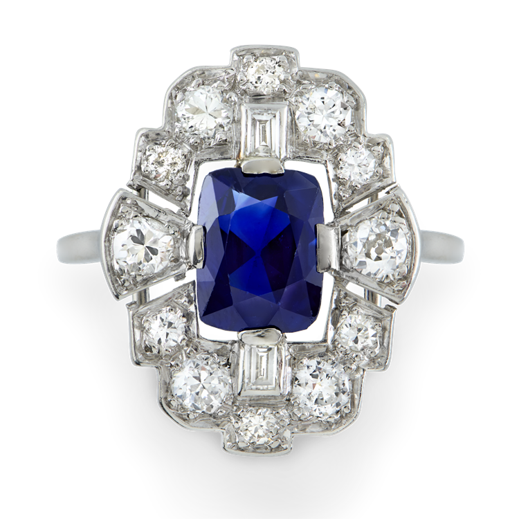 Art Deco Sapphire Plaque Ring<br />  in White Gold