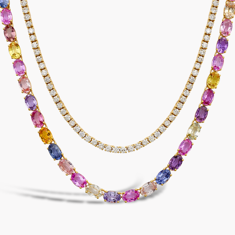 Rainbow Fancy Sapphire and Diamond Two-Row Necklace 27.28CT in Rose Gold