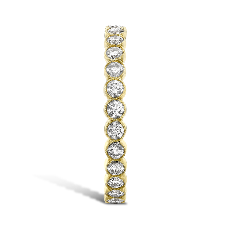 Diamond Dot Eternity Ring  0.98CT in Yellow Gold Brilliant Cut, Eternity, Millegrain Set_4