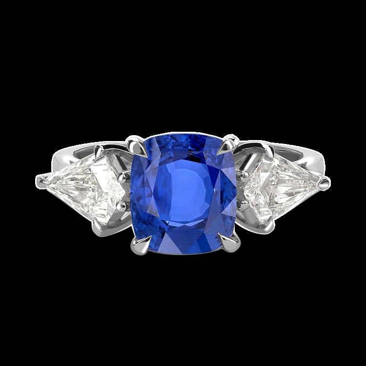 Cushion Cut Blue Sapphire Ring 2.92CT in Platinum